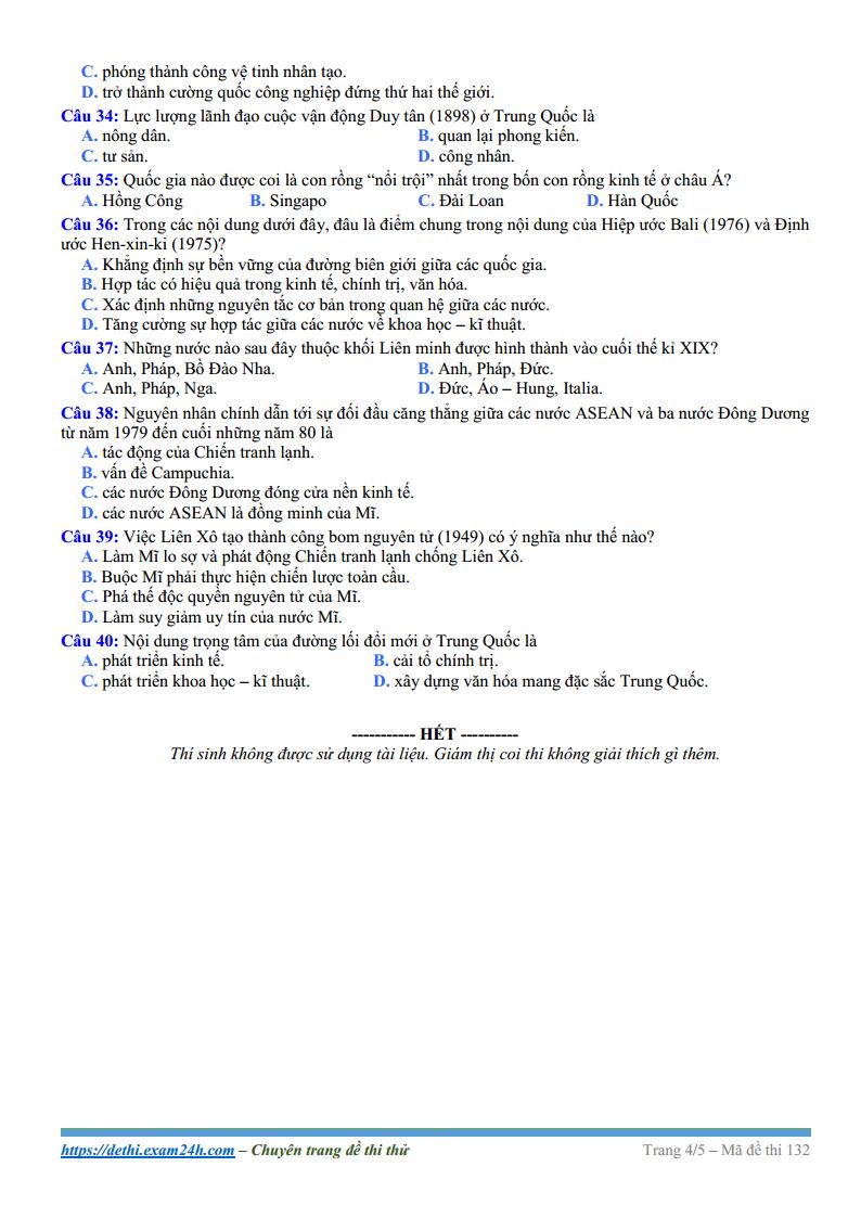 Trọn bộ đề thi thử và đáp án môn Lịch sử