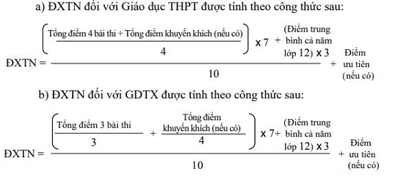 Công thức tính điểm xét tốt nghiệp THPT năm 2020