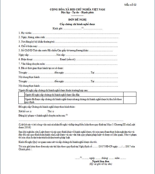 Mẫu đơn đề nghị cấp chứng chỉ hành nghề Dược
