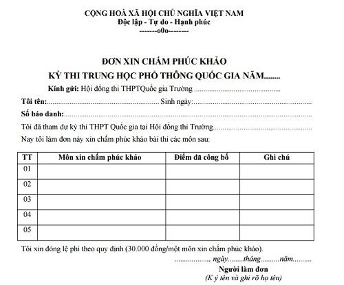 Mẫu đơn xin phúc khảo bài thi THPT quốc gia