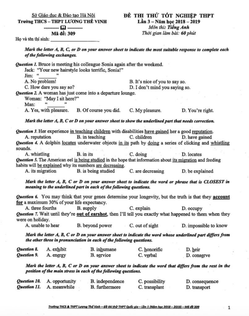 Đề thi thử và đáp án môn Tiếng Anh của Trường THPT Lương Thế Vinh