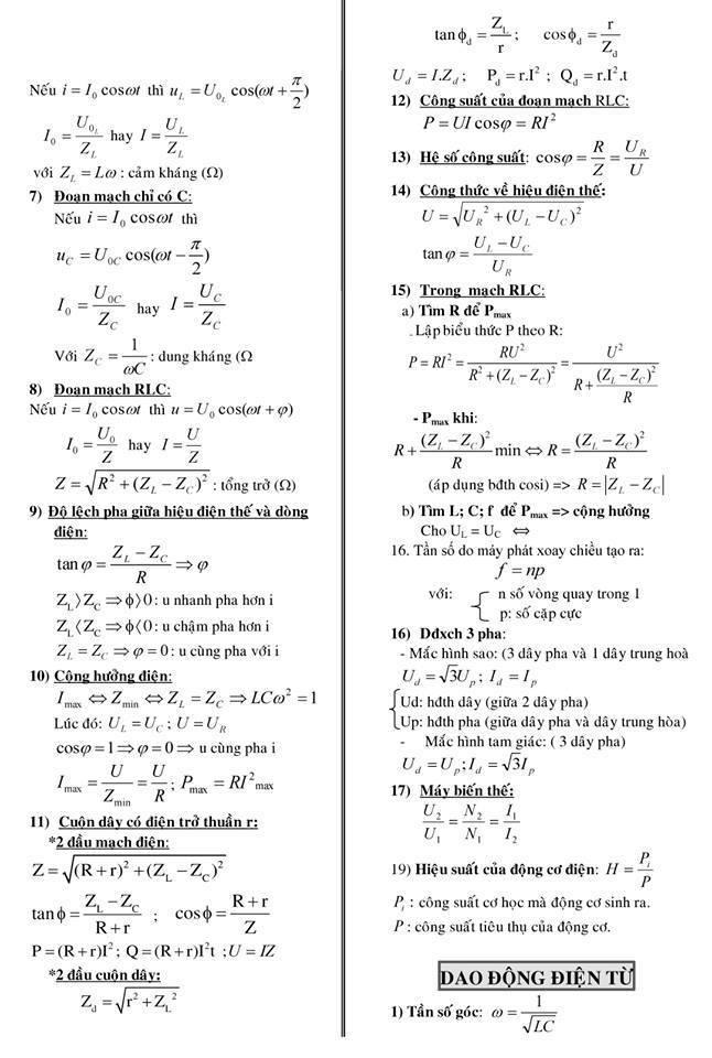 công thức môn Vật lý lớp 12 cho Kỳ thi THPT Quốc gia 2018