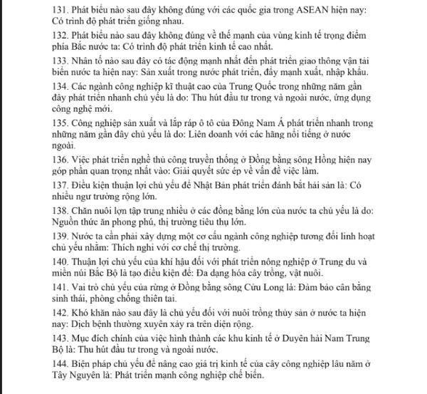 Toàn bộ các từ khóa chống liệt môn Địa lý lớp 12 -9