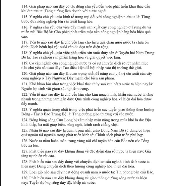 Toàn bộ các từ khóa chống liệt môn Địa lý lớp 12 -8